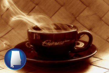 a cup of espresso coffee - with Alabama icon