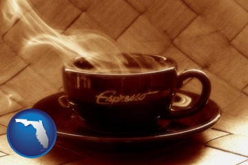 a cup of espresso coffee - with Florida icon