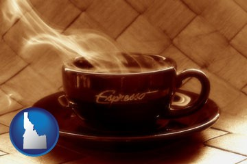 a cup of espresso coffee - with Idaho icon