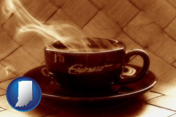 a cup of espresso coffee - with Indiana icon