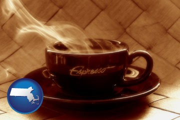 a cup of espresso coffee - with Massachusetts icon
