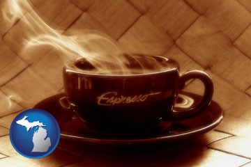 a cup of espresso coffee - with Michigan icon