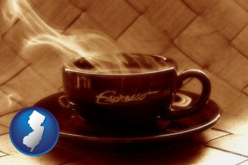 a cup of espresso coffee - with New Jersey icon
