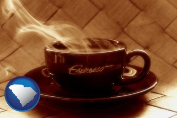 a cup of espresso coffee - with South Carolina icon