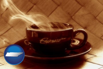 a cup of espresso coffee - with Tennessee icon