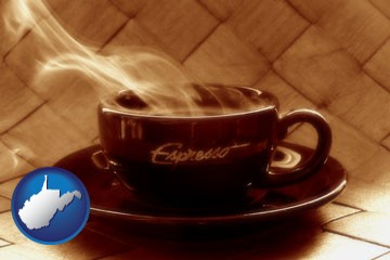 a cup of espresso coffee - with West Virginia icon