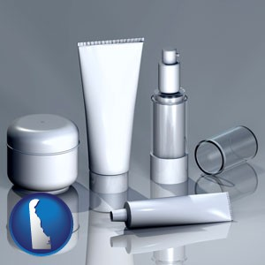 cosmetics packaging - with Delaware icon