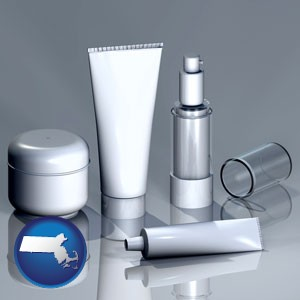 cosmetics packaging - with Massachusetts icon