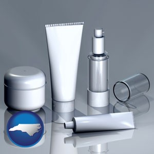 cosmetics packaging - with North Carolina icon