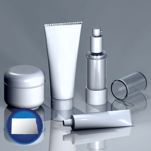 cosmetics packaging - with North Dakota icon