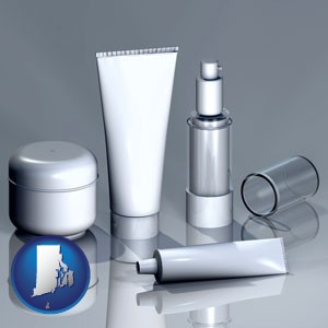 cosmetics packaging - with Rhode Island icon
