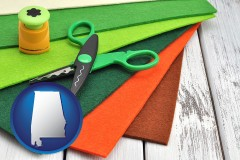 alabama craft supplies (colorful felt and a pair of scissors)