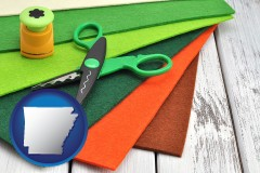 arkansas craft supplies (colorful felt and a pair of scissors)
