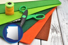 arizona craft supplies (colorful felt and a pair of scissors)