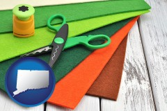 connecticut craft supplies (colorful felt and a pair of scissors)
