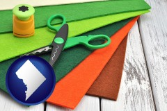 washington-dc craft supplies (colorful felt and a pair of scissors)
