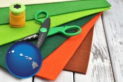 hi map icon and craft supplies (colorful felt and a pair of scissors)