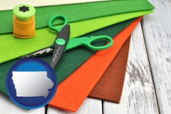 iowa craft supplies (colorful felt and a pair of scissors)