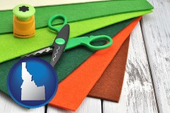 idaho craft supplies (colorful felt and a pair of scissors)