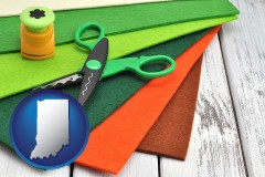 indiana craft supplies (colorful felt and a pair of scissors)