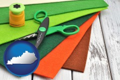 kentucky craft supplies (colorful felt and a pair of scissors)