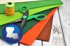 louisiana craft supplies (colorful felt and a pair of scissors)