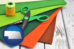 nebraska craft supplies (colorful felt and a pair of scissors)