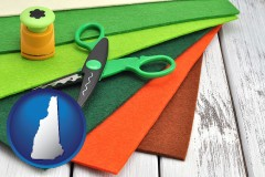 new-hampshire craft supplies (colorful felt and a pair of scissors)