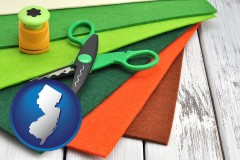 new-jersey craft supplies (colorful felt and a pair of scissors)