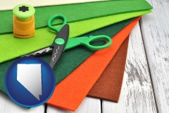 nevada craft supplies (colorful felt and a pair of scissors)
