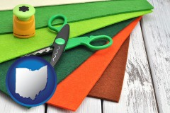 ohio craft supplies (colorful felt and a pair of scissors)
