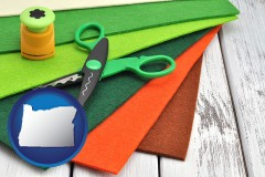 oregon craft supplies (colorful felt and a pair of scissors)
