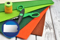 pennsylvania craft supplies (colorful felt and a pair of scissors)