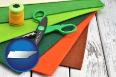 tennessee craft supplies (colorful felt and a pair of scissors)