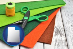 utah craft supplies (colorful felt and a pair of scissors)