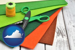 virginia craft supplies (colorful felt and a pair of scissors)