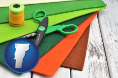 vermont craft supplies (colorful felt and a pair of scissors)