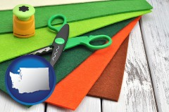 washington craft supplies (colorful felt and a pair of scissors)