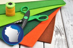 wisconsin craft supplies (colorful felt and a pair of scissors)