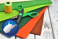 west-virginia craft supplies (colorful felt and a pair of scissors)
