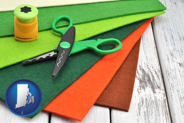 craft supplies (colorful felt and a pair of scissors) - with Rhode Island icon