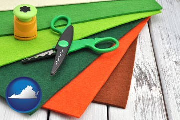 craft supplies (colorful felt and a pair of scissors) - with Virginia icon
