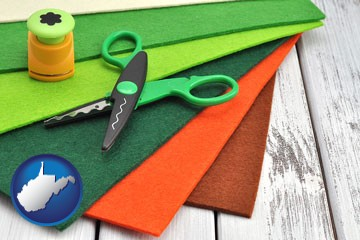 craft supplies (colorful felt and a pair of scissors) - with West Virginia icon