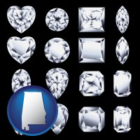 alabama map icon and sixteen diamonds, showing various diamond cuts