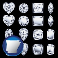 arkansas map icon and sixteen diamonds, showing various diamond cuts