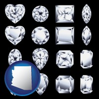 arizona map icon and sixteen diamonds, showing various diamond cuts