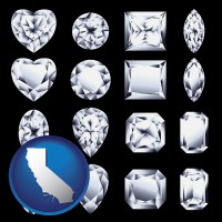 california map icon and sixteen diamonds, showing various diamond cuts