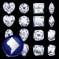washington-dc map icon and sixteen diamonds, showing various diamond cuts