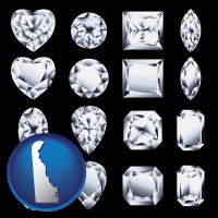 delaware sixteen diamonds, showing various diamond cuts