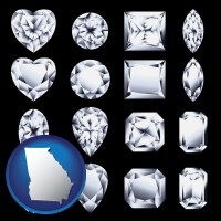 georgia map icon and sixteen diamonds, showing various diamond cuts